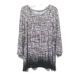 Investments Size 2X Pink Brown Black & White Top